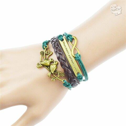 """Odinė žalia ruda apyrankė """"Green Love Birds"""""""