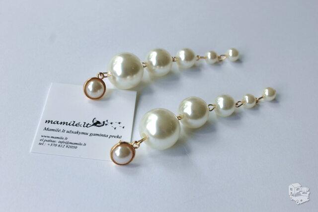 Puošnūs, ilgi, ivory spalvos perlų auskarau