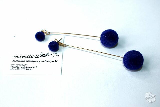 Ilgi mėlyni akosminiai auskarai burbulai