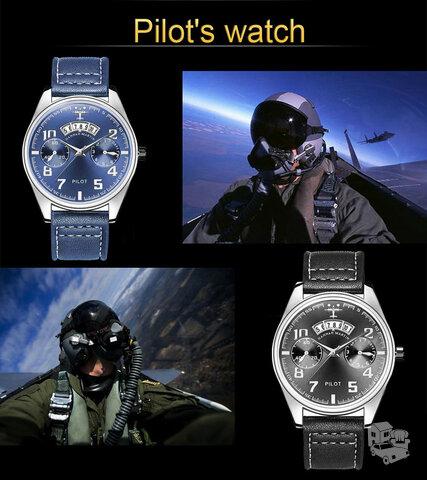 Kareiviški Pilot style laikrodžiai