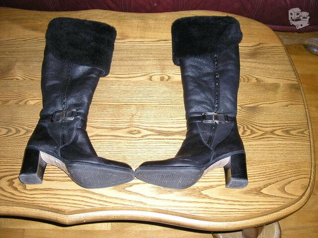 Silti odiniai batai su kailiu viduje