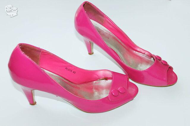 Rpžinės/pink spalvos basutės aukštu kulnu