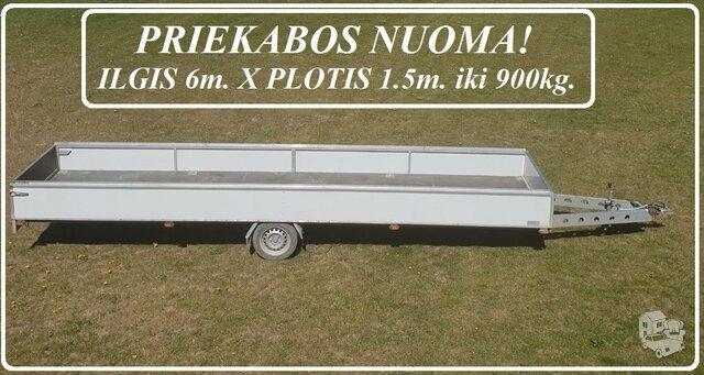 PRIEKABOS NUOMA! PRIEKABOS MATMENYS: ILGIS 6 m. X PLOTIS 1.5 m.