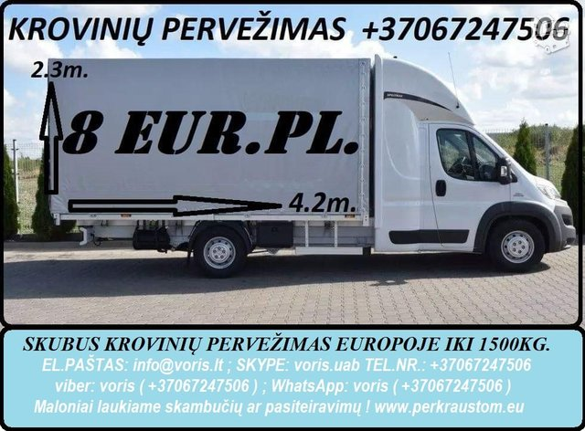 Krovinių Pervežimas tentiniu mikroautobusiuku Lietuva – Porto –