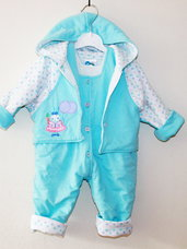 Šiltas kompelktas kūdikiui: kombinezono kelnės ir švarkelis