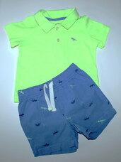 """2 dalių komplektukas: šortai ir polo marškinėliai """"Dinozaurai"""""""