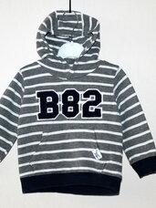 Šiltas, dryžuotas džemperis su kapišonu berniukui