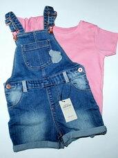 Komplektukai mergaitėms: džinsiniai kombinezonai-šortai ir mar