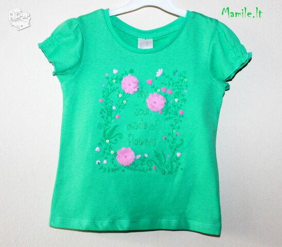 BIO medvilnės žalsvos spalvos, puošnūs marškinėliais mergaitėms