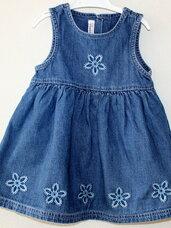 Džinsinė suknelė-sarafanas mergaitei iki 1 metukų