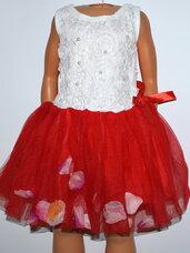 Puošnios raudonos suknelės mergaitėms