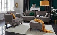 Minkšta sofa lova Nr154+fotelis+pufas veliūras pilkas
