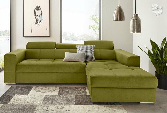 Minkštas kampas L formos Nr109 žalias su miego funkcija ir