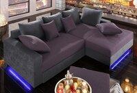 Minkštas kampas L formos Nr92 pilkas/violetinis su miego