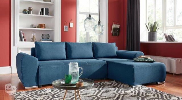 Minkštas kampas L formos Nr147 mėlynas su miego funkcija ir dėže