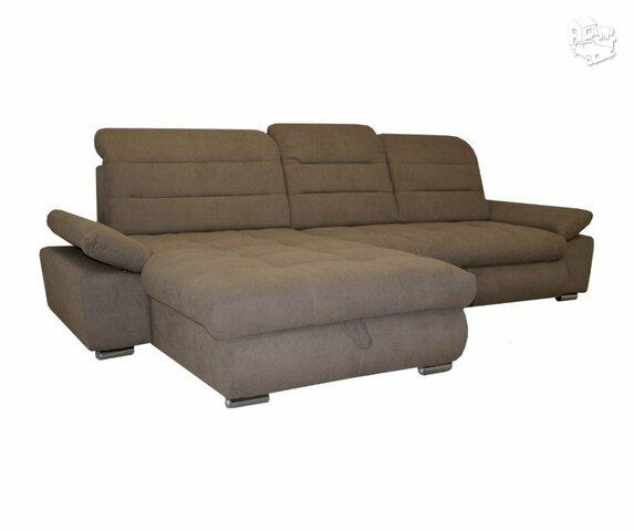 Minkštas kampas L formos Nr180 rudas su miego funkcija ir dėže
