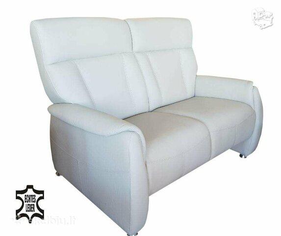 Sofa Nr118 Šviesiai pilka naturali oda