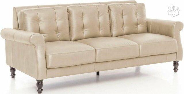 Minkšta sofa Nr128 kreminė naturali oda