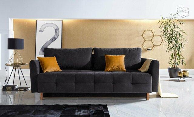Minkšta sofa lova Nr153 juoda