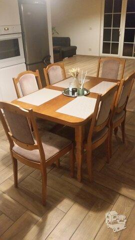 Pietų stalas su 6 kėdėmis ažuolinis. svetainės staliukas su
