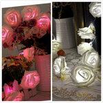 Led dekoracija Pink Roses, griliandoje 20 rožių