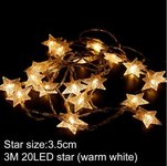 """ED grilianda """"Žvaigždės"""", šiltai baltos spalvos, 3 metrai,"""