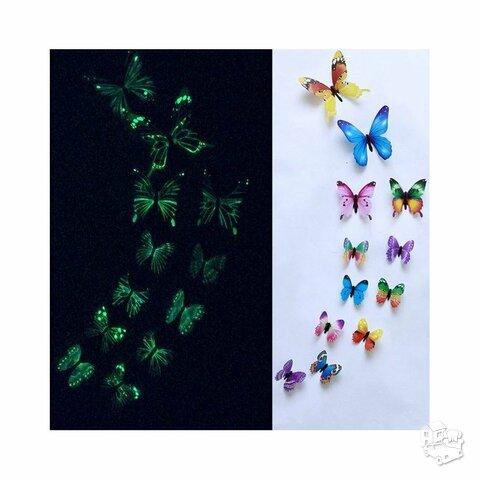 3D Sienos lipdukai drugeliai šviečiantys tamsoje
