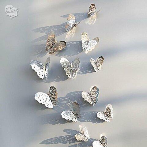 """3D sienos lipdukai """"Metalo drugeliai"""""""