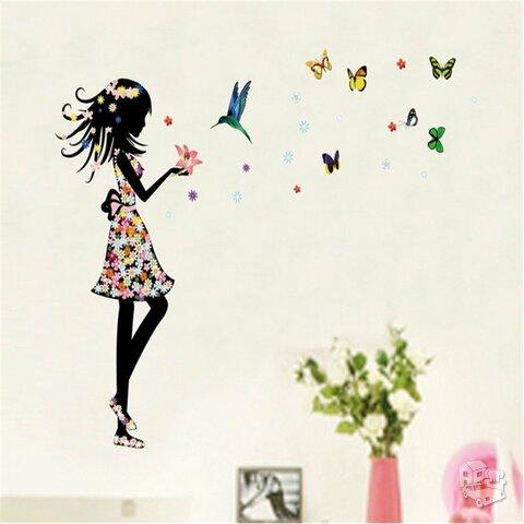 """Sienos lipdukas """"Mergaitė su drugeliais"""""""