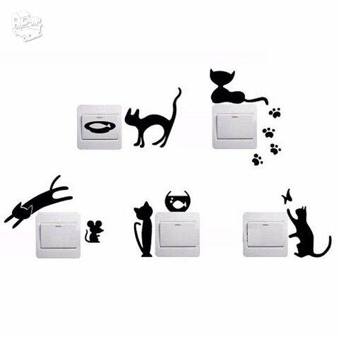 "Sienos lipdukai ""Katinukai ant jungiklių"" 5vnt."