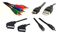 Laidai USB, audio, video, mini USB, SCART,S-video, RCA